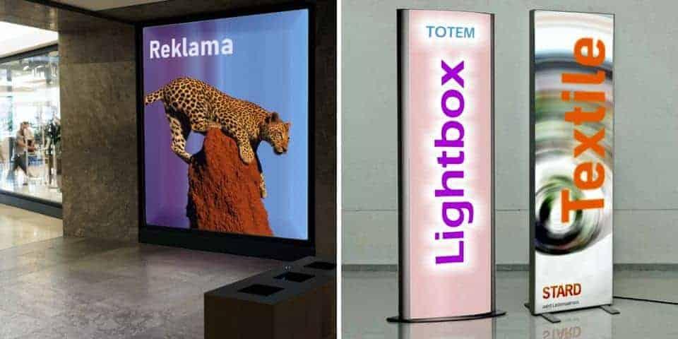 Reklamowe kasetony świetlne wewnętrzne i wystawiennicze.