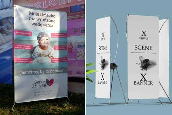 X banery reklamowe - stojaki, stojąca składana reklama ze stelażem