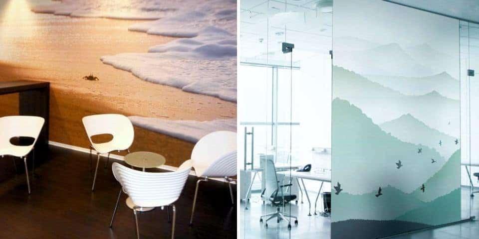 Dekoracja pomieszczenia biurowego, firmowego, sklepowego. Reklamowa dekoracja wnętrza.
