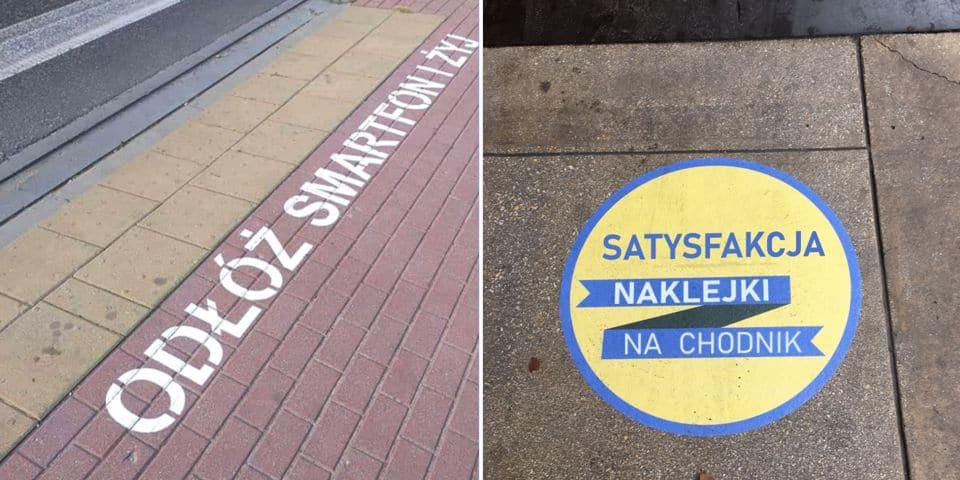 Reklama na chodnik, asfalt, kostkę. Naklejki, szablony.