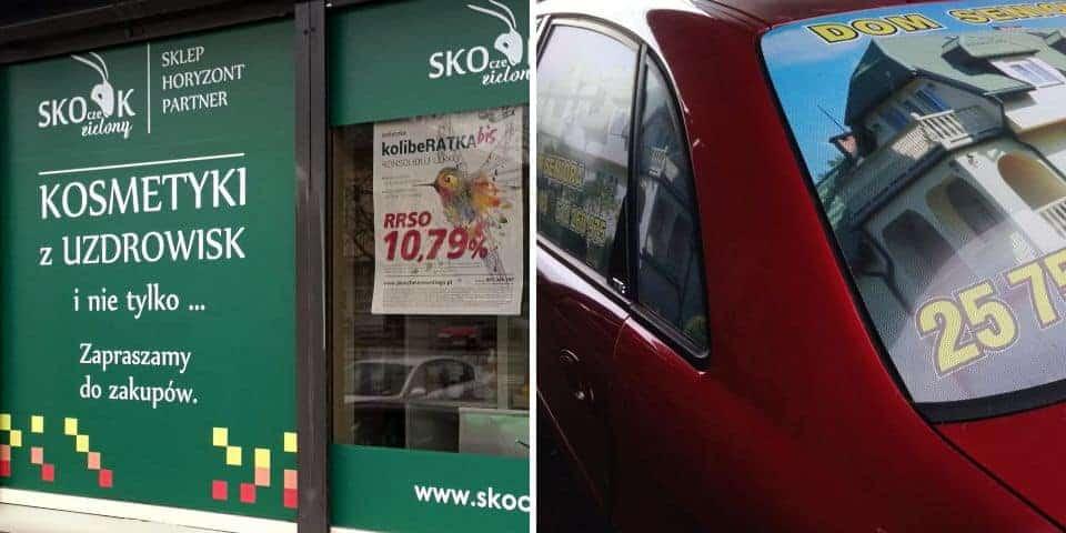 Reklama na szyby samochodowe i okna budynku
