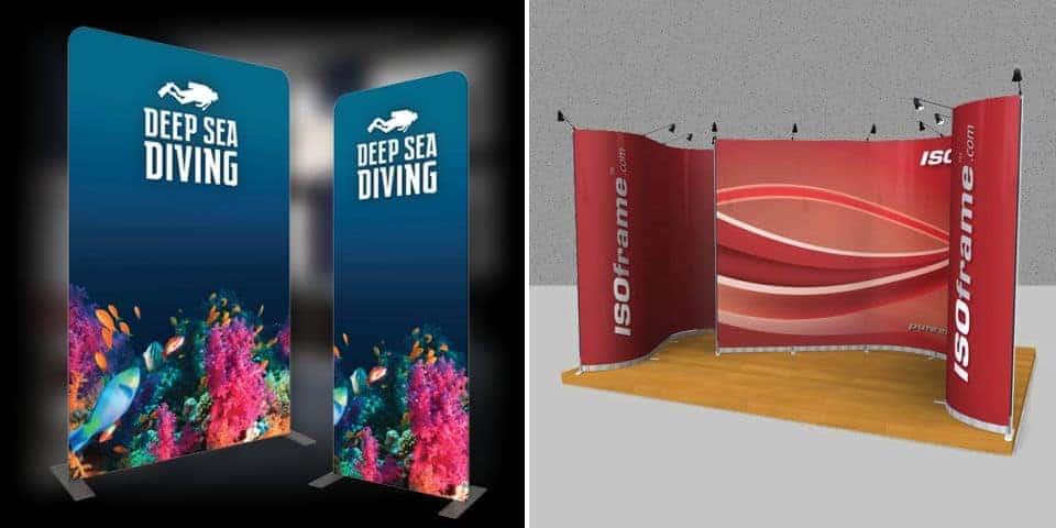 Ścianki reklamowe tekstylne - systemy ścianek reklamowych z elastycznym licem.