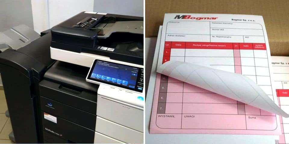 Poligraficzne produkty informacyjne. Materiały kopiowane – xero kolor i drukowane offsetem.