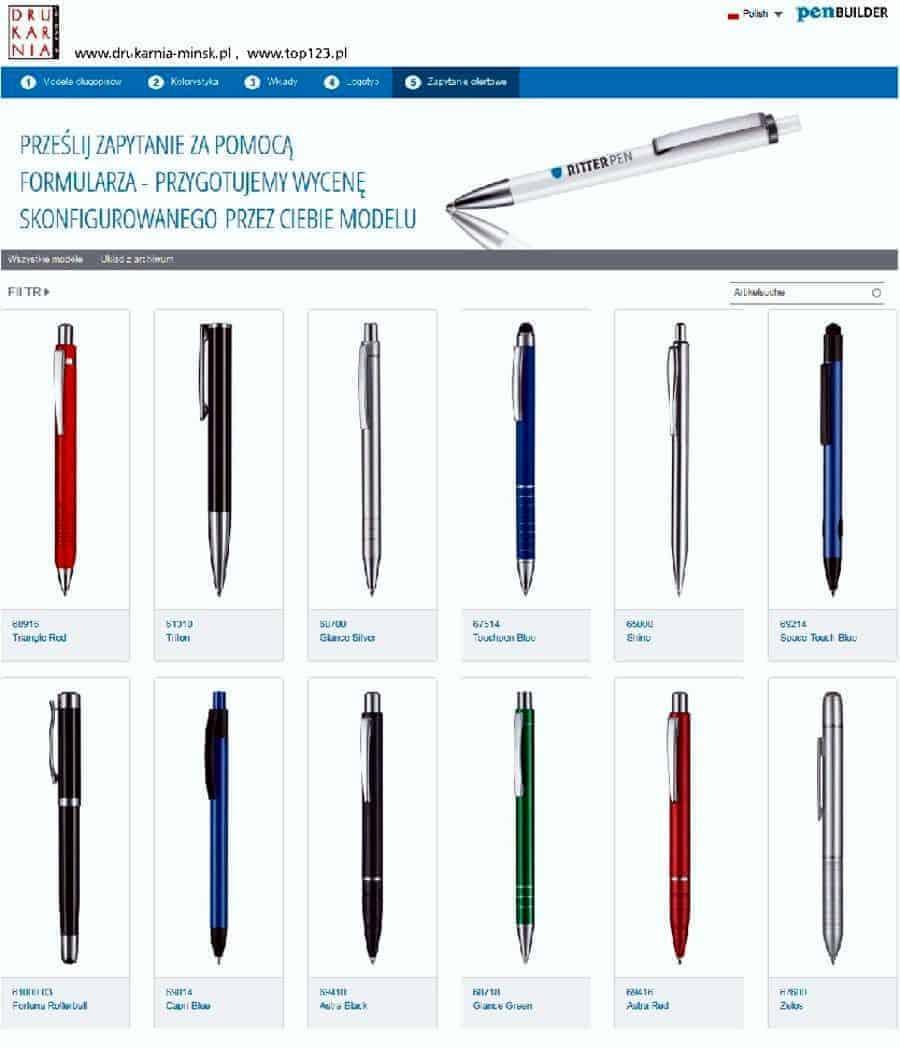 Długopisy z nadrukiem firmowym, logo, hasłem reklamowym. Konfiguracja modelu długopisu.
