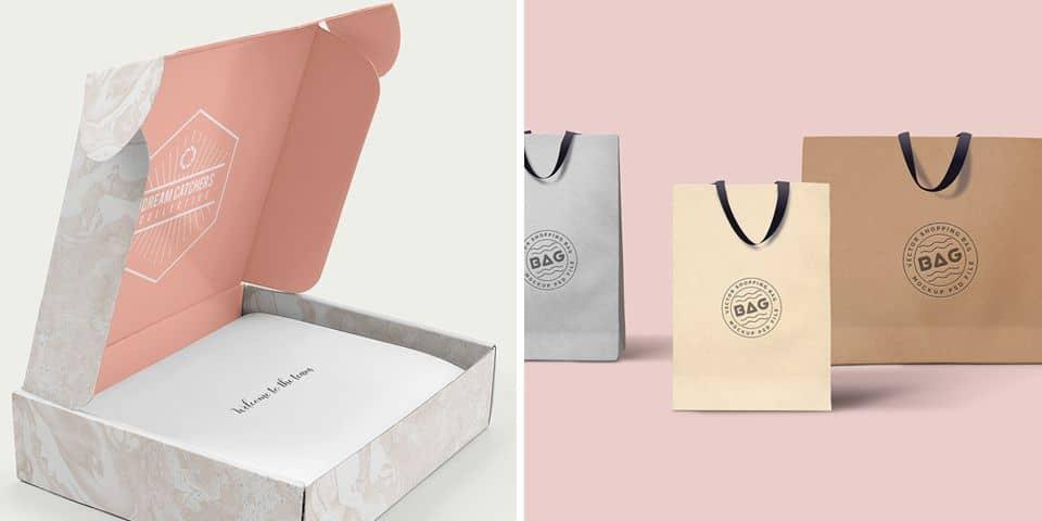 Opakowania reklamowe, pudełka kartonowe, torebki papierowe z nadrukiem firmowym, znakiem graficznym, logo lub hasłem reklamowym.