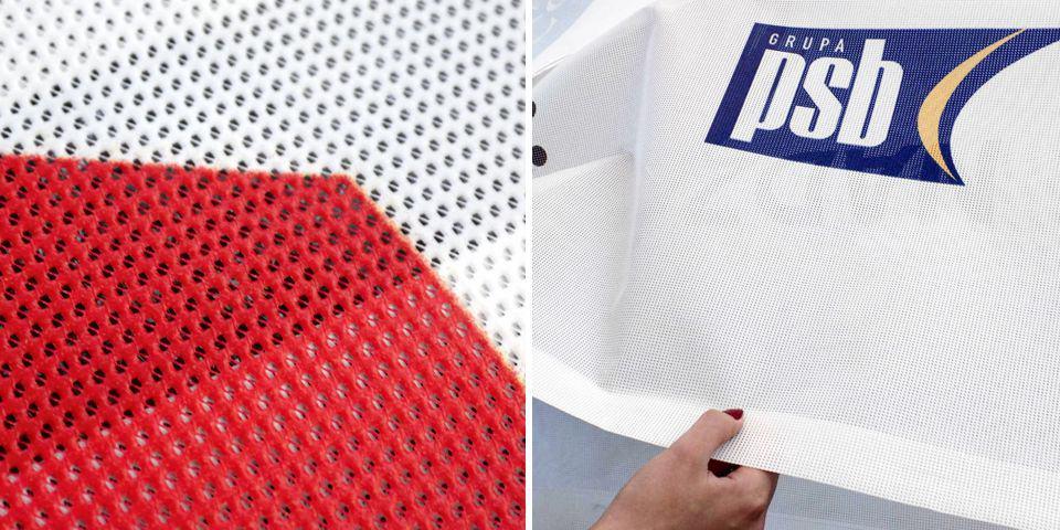 Reklamowe banery siatkowe. Lekkie tkaniny powlekane tworzywem /plandeki dziurkowane, perforowane z nadrukiem.
