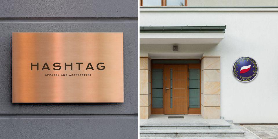 Prestiżowe szyldy firmowe, reprezentacyjne tablice /oznakowanie placówki urzędu, budynku firmy itd.