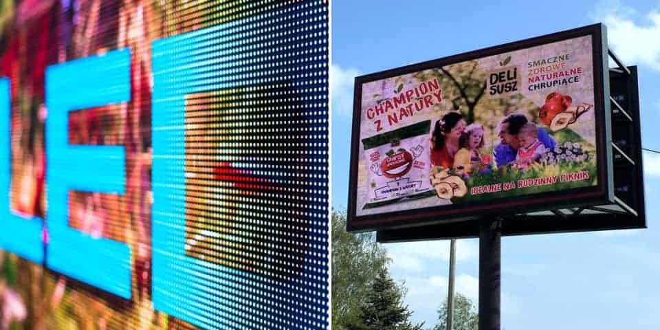 Telebimy RGB, świecące ekrany diodowe. Reklama świetlna.