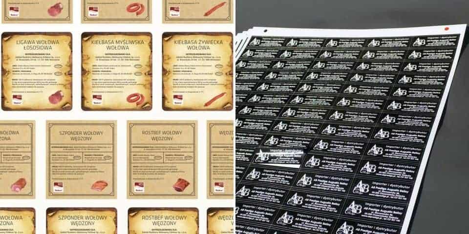 Etykiety samoprzylepne, naklejki papierowe.