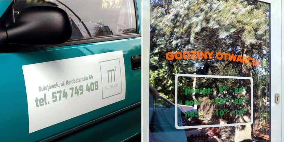 Naklejki na drzwi, oznakowanie, reklama.