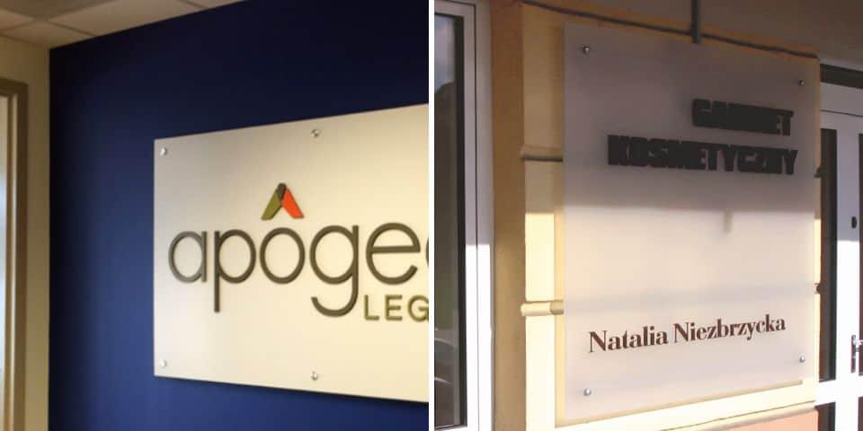 Szyldy firmowe główne oznakowanie marki logo.