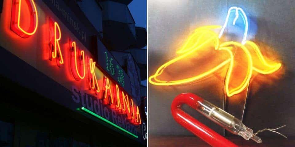 Neony reklamowe świecące rurki szklane reklama