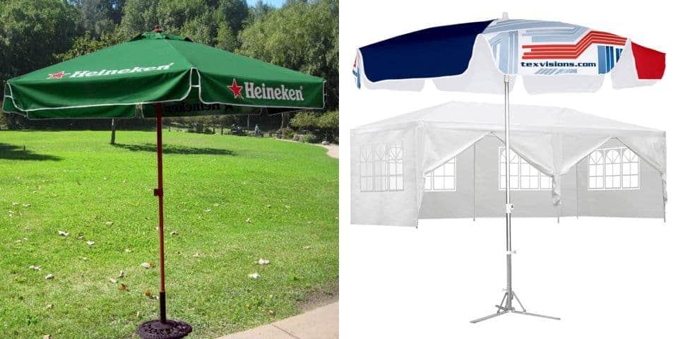 Stojące parasole z masztem nadrukiem promocyjnym