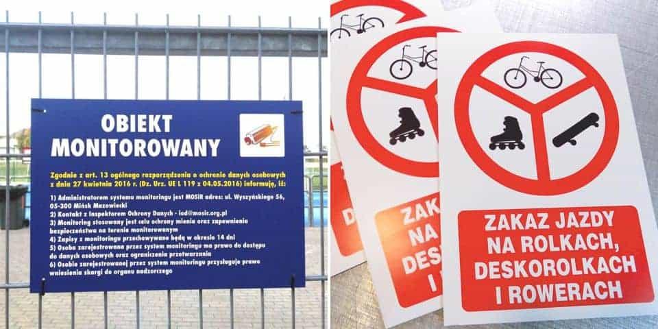 Tablice informacyjne znaki ostrzegawcze oznakowania